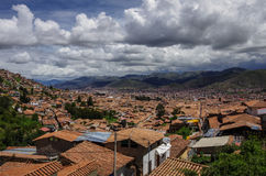 Cityscape of Cusco in Sacred Valley, Peru. A view from a fortres Stock Photos