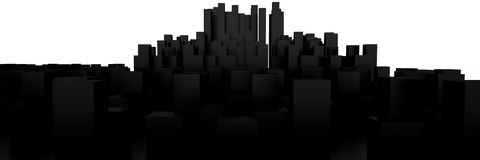 Cityscape, 3D. Cityscape isolated on white background, 3D rendering image Stock Photo