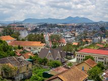 Cityscape Da Lat, Vietnam. DA LAT, VIETNAM - Aril 28, 2018: View of many Houses, Building and Moutain in Da Lat City, Vietnam, Cityscape Stock Photo
