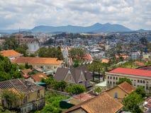 Cityscape Da Lat, Vietnam. DA LAT, VIETNAM - Aril 28, 2018: View of many Houses, Building and Moutain in Da Lat City, Vietnam, Cityscape stock photo