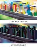 Cityscape- dag en nacht Stock Fotografie