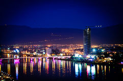 Cityscape of Danang by night in Vietnam Royalty Free Stock Photos
