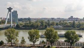 UFO Bridge in Bratislava, Slovakia. Cityscape with Danube river and SNP New bridge or UFO Bridge in Bratislava, Slovakia Stock Image