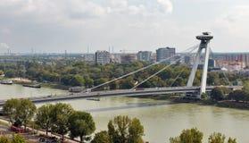 UFO Bridge or Novy Most in Bratislava, Slovakia. Cityscape with Danube river and SNP New bridge or UFO Bridge or Novy Most in Bratislava, Slovakia stock photography
