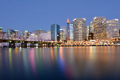 Cityscape of Darling Harbour at dusk Sydney New South Wales Aust Stock Photography