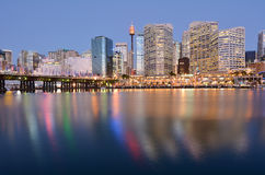 Cityscape of Darling Harbour at dusk Sydney New South Wales Aust Stock Images