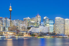 Cityscape and Darling Harbour in Sydney at twilight Royalty Free Stock Photography
