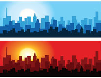Cityscape at Dawn and Dusk Stock Photo
