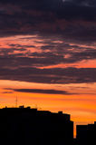Cityscape dawn silhouette. Urban landscape sunrise sunset silhouette of buildings Royalty Free Stock Photography
