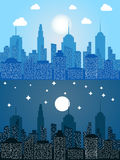 Cityscape at day and night time Royalty Free Stock Photo
