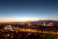 Cityscape de Nacht van Florence, Florence, Toscanië, Italië stock foto
