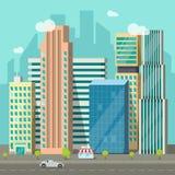 Cityscape, de weg van stadsgebouwen, grote wolkenkrabbersstad, stedelijk straatlandschap Royalty-vrije Stock Foto's