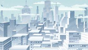Cityscape de winter royalty-vrije illustratie