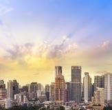 cityscape de zonsonderganghorizon van Bangkok, Thailand Bangkok is metropoli royalty-vrije stock foto's