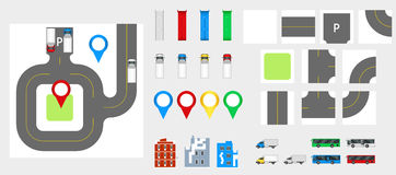 Cityscape Design Elements with road, transport, buildings, navigation pins. Road Map Vector illustration eps 10. May be used for v Royalty Free Stock Image