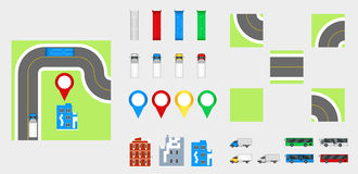 Cityscape Design Elements with road, transport, buildings, navigation pins. Road Map Vector illustration eps 10. May be used for v Stock Image