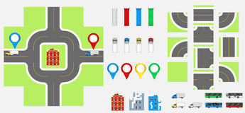 Cityscape Design Elements with road, transport, buildings, navigation pins. Road Map Vector illustration eps 10. May be used for v Royalty Free Stock Photos
