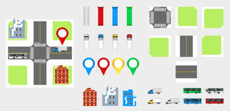 Cityscape Design Elements with road, transport, buildings, navigation pins. Road Map Vector illustration eps 10. May be used for v. Cityscape Design Elements Royalty Free Stock Photo