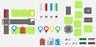 Cityscape Design Elements with road, transport, buildings, navigation pins. Road Map Vector illustration eps 10. May be used for v Stock Photography