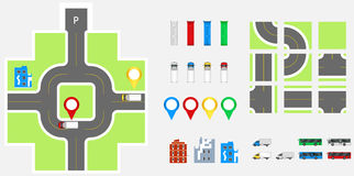 Cityscape Design Elements with road, transport, buildings, navigation pins. Road Map Vector illustration eps 10. May be used for v Royalty Free Stock Images