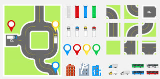 Cityscape Design Elements with road, transport, buildings, navigation pins. Road Map Vector illustration eps 10. May be used for v Royalty Free Stock Photo