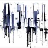 Cityscape die in jaren '50 Art Inspired wordt gedaan vector illustratie
