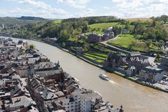 Cityscape of Dinant along the river Meuse, Belgium Royalty Free Stock Images