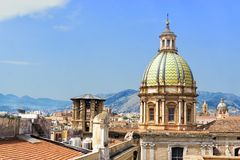 Dome of the Saint Catherine Church in Palermo, Italy. Cityscape of the dome of the Saint Catherine Church and building in Palermo, Italy stock photography