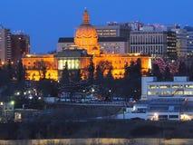 Cityscape Of Downtown Edmonton Alberta Canada. Cityscape of downtown Edmonton Alberta with illuminated Legislative Building royalty free stock image
