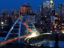 Cityscape Of Downtown Edmonton Alberta Canada. Cityscape of downtown Edmonton Alberta with new bridge crossing North Saskatchewan River stock image