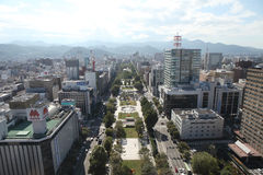 Cityscape of Downtown Sapporo Royalty Free Stock Image