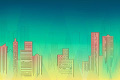 Cityscape. Downtown skyline at night, detailed silhouette. Trendy vector illustration, lineart Stock Photography