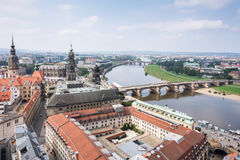 Cityscape of Dresden and River Elbe Royalty Free Stock Images