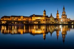 The cityscape of Dresden during twilight. Dresden, Germany, Europe Royalty Free Stock Photo