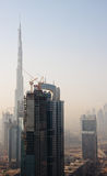 Cityscape of Dubai. Towering city skyscraper blocks in Dubai with Burj stock images