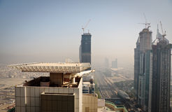 Cityscape of Dubai. Towering city skyscraper blocks in Dubai stock image