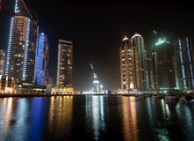 Cityscape of Dubai. Towering city skyscraper blocks in Dubai royalty free stock photo