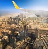 Cityscape of Dubai from aeroplane window Stock Image