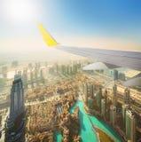 Cityscape of Dubai from aeroplane window Stock Photo