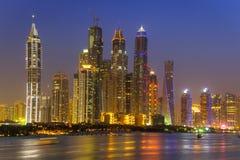Cityscape of Dubai at night Stock Photography
