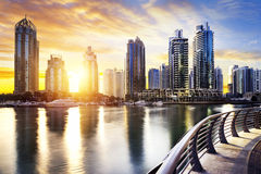 Cityscape of Dubai at night, United Arab Emirates. Skyline of Dubai Marina at night with boats, United Arab Emirates, Middle East Royalty Free Stock Photography