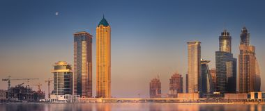 Cityscape of Dubai and panoramic view of Business bay, UAE stock photography