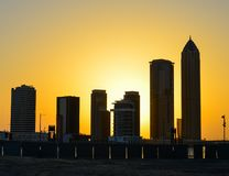 Cityscape of Dubai at twilight royalty free stock photos