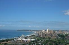 VIEW OF DURBAN FROM MOSES MABHIDA STADIUM. Cityscape of Durban in Kwazulu Natal from Moses Mabhida viewing platform Stock Photo