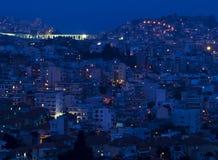 Beautiful night photo of Kavala city in Greece. stock image