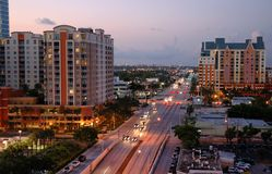 Cityscape at dusk. Skyline view of traffic and hotels at Las Olas in Fortt. Lauderdale, Forida Royalty Free Stock Image