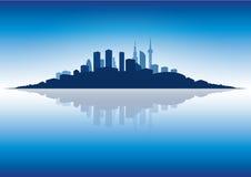 Cityscape at dusk stock illustration