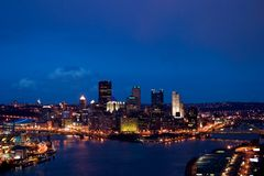 Cityscape at dusk. Downtown Pittsbrugh skyline at evening dusk Royalty Free Stock Image