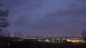 Cityscape of Moscow. Cityscape at dusk with gloomy clouds at background stock photography
