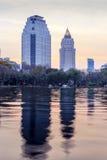 Cityscape at dusk Stock Photo
